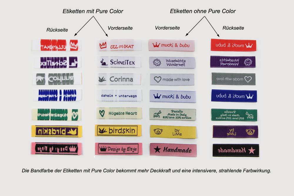 Gewebte Etiketten mit Pure Color Verfahren