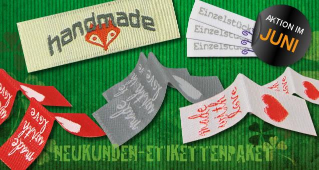Monatsaktion: 10 gewebte Textiletiketten für Neukunden gratis
